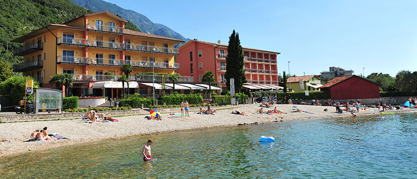 Hotel Astoria, Malcesine, Lake Garda, Italy - Beach on the lake.jpg